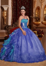 2014 Cheap Puffy Blue Ruffles Quinceanera Dress with Embroidery