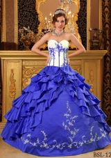 2014 Colourful Puffy Sweetheart Ruffles And Embroidery Quinceanera Dress with Ruffled Layers
