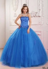 2014 Elegant Puffy Strapless Beading in Blue Quinceanera Dress with Appliques