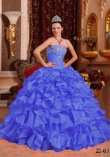 2014 Purple Puffy Strapless Quinceanera Dress with Beading and Appliques