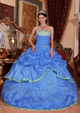 Brand New Blue Puffy Strapless for 2014 Appliques Quinceanera Dress with Pick-ups