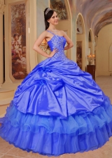 Lovely Blue Puffy One Shoulder for 2014 Quinceanera Dress with Appliques and Hand Made Flowers