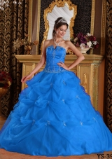 Perfect Blue Ball Gown Strapless For 2014 Pick-ups Quinceanera Dress with Beading