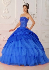 Perfect Blue Puffy Strapless Beading for 2014 Quinceanera Dress with Ruffled Layers