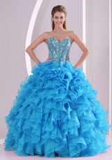 Aqua Blue Sweetheart Organza 2014 Quinceanera Gowns with Fitted Waist