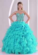 Puffy Sweetheart Full Length Fashion Quinceanera Dress with Beading