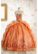Unique Appliques Brush Train Quinceanera Dresses in Orange
