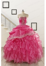 2015 Pretty Appliques and Ruffles Quinceanera Gowns in Hot Pink