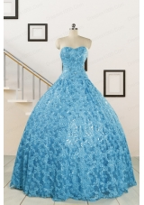 2015 Unique Sweetheart Ball Gown Quinceanera Dress in Baby Blue