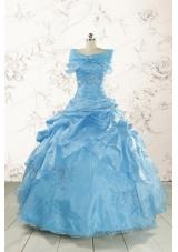 Elegant Appliques Aqua Blue Quinceanera Dresses
