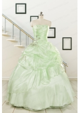 2015 Cheap Beading Strapless Yellow Green Quinceanera Gowns