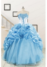 2015 New Style Sweetheart Baby Blue Quinceanera Dresses with Appliques