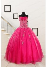 2015 Pretty Sweetheart Hot Pink Quinceanera Dresses with Beading