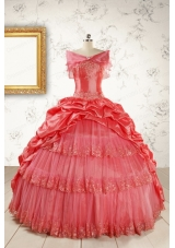 2015 Puffy Appliques Watermelon Quinceanera Dresses with Strapless