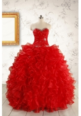 Pretty Ball Gown Sweetheart 2015 Red Quinceanera Dresses with Beading