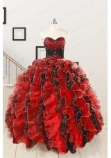 Unique Beaded Sweetheart Organza Quinceanera Dress in Multi-color