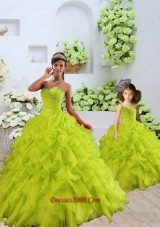 Custom Made Organza Beading and Ruffles Princesita Dress in Yellow Green