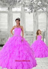 Fashionable Beading and Ruching Hot Pink Princesita Dress for 2015