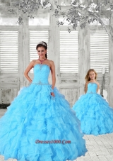Luxurious Beading and Ruching Princesita Dress in Aqua Blue for 2015