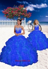 New Style Beading and Ruffles Princesita Dress in Royal Blue