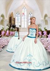 2015 Modest Embroidery White and Blue Princesita Dress 265.89