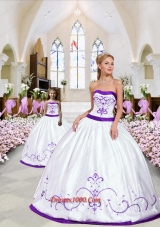 2015 New Style Embroidery White and Eggplant Purple Princesita Dress