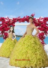 Exquisite Beading and Ruffles Yellow Green Princesita Dress