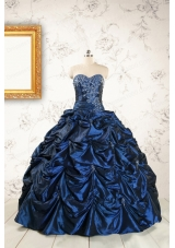 2015 Exclusive Appliques Navy Blue Quinceanera Dresses