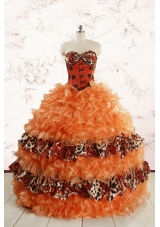 2015 Exquisite Sweetheart Leopard Quinceanera Dresses in Orange