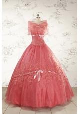 Watermelon Cheap Appliques Quinceanera Dresses for 2015
