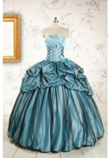 2015 Cheap Strapless Quinceanera Dresses in Teal