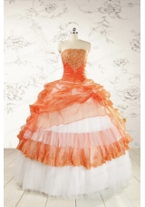 2015 Perfect Strapless Quinceanera Dresses with Beading