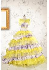 Popular Beading Yellow Sweet 15 Dresses with Sweep Train