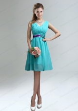 Elegant V-neck Ruched Prom Dress with Belt for Sale