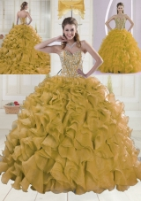 2015 Spring Sweetheart Brush Train Beading Gold Quinceanera Dress
