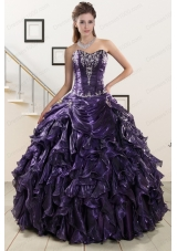 2015 Elegant Sweetheart Purple Quinceanera Dresses with Appliques