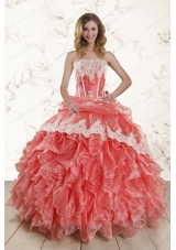 2015 Popular Watermelon Quinceanera Dresses with Strapless