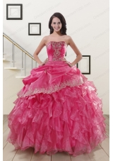 Appliques and Ruffles 2015 Hot Pink Quinceanera Gowns