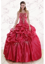 Elegant Strapless Hot Pink Quinceanera Dresses with Embroidery