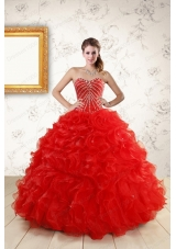 Elegant Sweetheart Beading Perfect Red Quinceanera Dresses for   2015