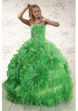 2015 Classical Sweetheart Green Quinceanera Dresses with Appliques and Ruffles