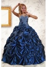 2015 Elegant Appliques Navy Blue Quinceanera Dresses with Pick Ups