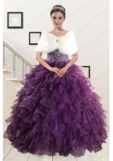 2015 Elegant Beading and Ruffles Quinceanera Dresses in Purple