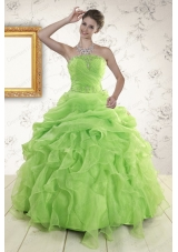 2015 Elegant Green Quinceanera Dresses with Beading and Ruffles