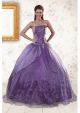 2015 Elegant Purple Strapless Appliques Quinceanera Dresses