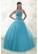 2015 Elegant Sweetheart Baby Blue Quinceanera Dresses with Appliques