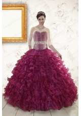 Cheap Burgundy Quinceanera Gown with Beading and Ruffles