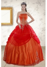 Cheap Strapless Appliques Sweet 16 Dresses in Orange Red