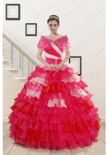 Elegant Beading Quinceanera Dresses with One Shoulder for 2015