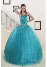 Elegant Spaghetti Straps Appliques Sequins Turquoise Quinceanera Dresses for 2015